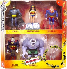 DC Super Heroes Justice League Unlimited Exclusive Action Figure 6-Pack [Superman, Wonder Woman, Batman, Bizarro, GREY Doomsday & Clear Amazo]