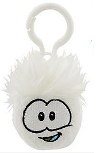 Disney Club Penguin 2 Inch Plush Puffle Clip On White Random Facial Expression!