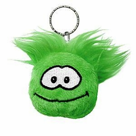 Disney Club Penguin 2 Inch Plush Puffle Keychain Green