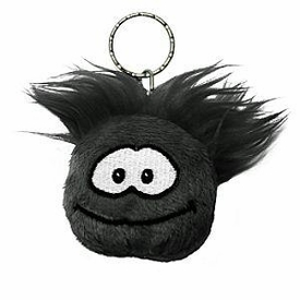 Disney Club Penguin 2 Inch Plush Puffle Keychain Black
