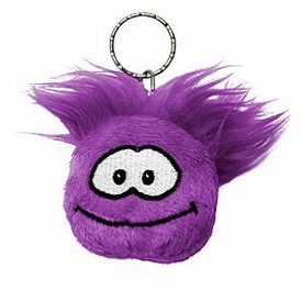 Disney Club Penguin 2 Inch Plush Puffle Keychain Purple