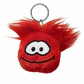 Disney Club Penguin 2 Inch Plush Puffle Keychain Red