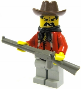 LEGO Western LOOSE Mini Figure Bandit [Brown Hat, Red Shirt & Rifle]