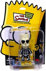 The Simpsons Mania Series Bart Simpson 3 Inch Qee Keychain [Black Skeleton]