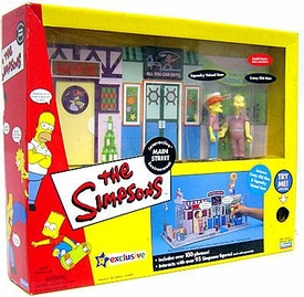The Simpsons Exclusive Action Figure Playset Main Street with Crazy Old Man & Squeaky Voiced Teen