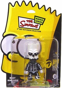 The Simpsons Mania 3 Inch Qee Figure Bart Simpson [Black & White Skull]