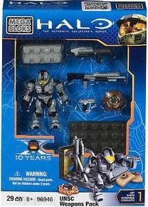 Halo Wars Mega Bloks Set #96946 UNSC Weapons Pack III[Silver CQB Spartan]