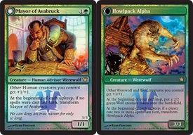 Magic the Gathering Prerelease & Release Promo Card Mayor of Avabruck // Howlpack Alpha [Innistrad Prerelease]