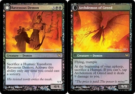 Magic the Gathering Prerelease & Release Promo Card Ravenous Demon // Archdemon of Greed [Dark Ascension Prerelease]