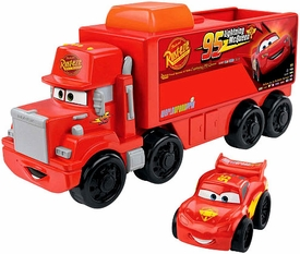 Disney / Pixar CARS Wheelies Little People Playset Mack Hauler & Lightning McQueen