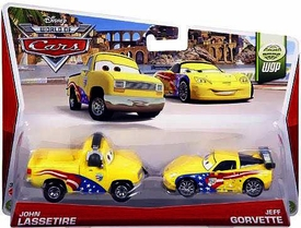 Disney / Pixar CARS MAINLINE 1:55 Die Cast Car 2-Pack John Lassetire & Jeff Gorvette [WGP 6/15]