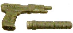 GI Joe 3 3/4 Inch LOOSE Action Figure Accessory Dark Tan Pistol with Removeable Silencer