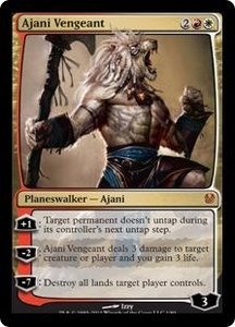 Magic the Gathering Duel Decks: Ajani vs. Nicol Bolas Single Card Gold Mythic Rare #1 Ajani Vengeant