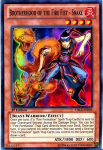 YuGiOh Zexal Cosmo Blazer Single Card Super Rare CBLZ-EN026 Brotherhood of the Fire Fist - Snake