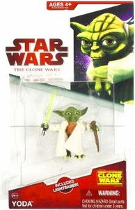 Star Wars 2009 Clone Wars Animated Action Figure CW No. 14 Yoda with Cloth Robe