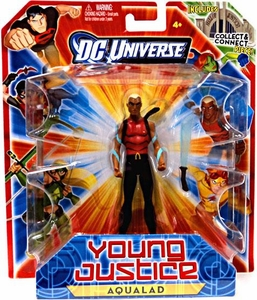 Young Justice 4 Inch Action Figure Aqualad {Red Shirt} [Includes Build a Hall of Justice Piece]