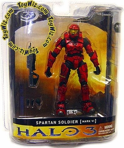 Halo 3 McFarlane Toys Series 1 Action Figure Red Spartan Soldier [MARK VI Armor] COLLECTOR'S CHOICE!