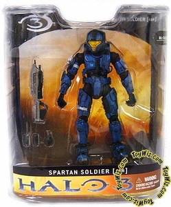 Halo 3 Mcfarlane Toys Series 1 Exclusive Action Figure BLUE Spartan Soldier CQB [Close Quarter Battle]