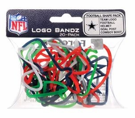 Logo Fan Bandz Sports Shaped Rubber Bands 20-Pack Dallas Cowboys