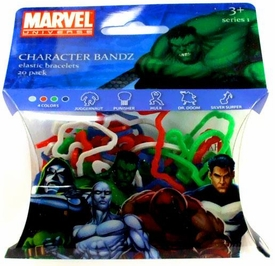 Marvel Logo Bandz Shaped Rubber Band Bracelets 20-Pack Super Heroes Version #1 [Punisher, Hulk, Silver Surfer, Juggernaut & Dr Doom]