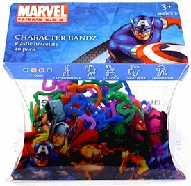 Marvel Logo Bandz Shaped Rubber Band Bracelets 20-Pack Super Heroes Version #2 [Captain America, Galactus, Thor, Ghost Rider & Abomination]