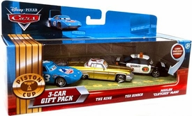 Disney / Pixar CARS Movie 1:55 Die Cast Cars with Lenticular Eyes 3-Car Gift Pack King, Tex Dinoco & Marlon Clutches McKay