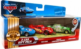 Disney / Pixar CARS Movie 1:55 Die Cast Cars with Lenticular Eyes 3-Car Gift Pack King, Tongue  Lightning McQueen & Chick Hicks