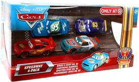 Disney / Pixar CARS Movie Exclusive 1:55 Die Cast Piston Cup Nights Speedway 4-Pack Spare O Mint, Lightning McQueen, Sputter Stop & Transberry Juice