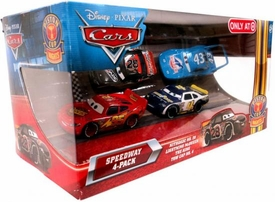 Disney / Pixar CARS Movie Exclusive 1:55 Die Cast Piston Cup Nights Speedway 4-Pack Nitroade, Lightning McQueen, King & Tow Cap