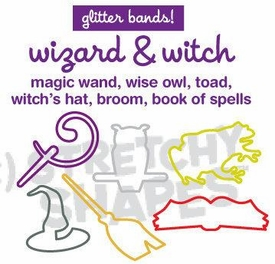 Stretchy Shapes Shaped Rubber Bands Bracelets 24-Pack Wizard & Witch