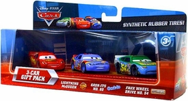 Disney / Pixar CARS Movie Exclusive 1:55 Die Cast Car with Rubber Tires 3-Car Gift Pack Lightning McQueen, Gask-Its & Faux Wheel Drive