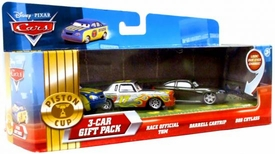 Disney / Pixar CARS Movie Exclusive 1:55 Die Cast Piston Cup Nights Lenticular Eyes 3-Car Gift Pack Race Official Tom, Darrell Cartrip, Bob Cutlass