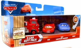 Disney / Pixar CARS Movie 1:55 Die Cast Cars with Lenticular Eyes 3-Car Gift Pack Red, Wet Lightning McQueen & Sally