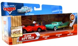 Disney / Pixar CARS Movie 1:55 Die Cast Cars with Lenticular Eyes 3-Car Gift Pack Waitress Mia, Waitress Tia & Flo with Tray