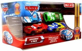 Disney / Pixar CARS Movie Exclusive 1:55 Die Cast Piston Cup Nights Speedway 4-Pack Bumper Save, Lightning McQueen, Chick Hicks & Gasprin