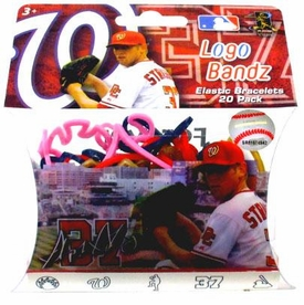 Logo Bandz Shaped Rubber Band Bracelets 20-Pack Stephen Strasburg