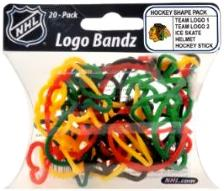 Logo Fan Bandz Sports Shaped Rubber Bands 20-Pack Chicago Blackhawks