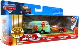 Disney / Pixar CARS Movie 1:55 Die Cast Cars with Lenticular Eyes 3-Car Gift Pack Pit Crew Member Sarge, Pit Crew Member Fillmore & McQueen