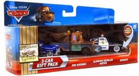 Disney / Pixar CARS Movie 1:55 Die Cast Cars with Lenticular Eyes 3-Car Gift Pack Doc Hudson, Blowing Bubbles Mater & Sheriff