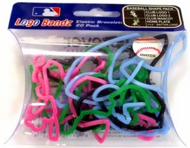 Logo Fan Bandz Sports Shaped Rubber Bands 20-Pack Chicago White Sox