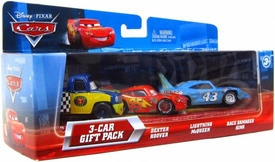 Disney / Pixar CARS Movie 1:55 Die Cast Cars with Lenticular Eyes 3-Car Gift Pack Dexter Hoover, Lightning McQueen & Race Damaged King
