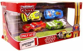 Disney / Pixar CARS Movie Exclusive 1:55 Die Cast Piston Cup Nights Speedway 4-Pack Leak Less, Lightning McQueen, Rev N' Go & Vitoline