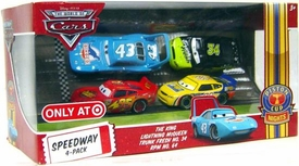 Disney / Pixar CARS Movie Exclusive 1:55 Die Cast Piston Cup Nights Speedway 4-Pack Lightning McQueen, King, Trunk Fresh & RPM