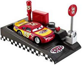 Disney / Pixar CARS Movie 1:55 Die Cast Car with Launcher Pit Row Race-Off Shifty Drug #35