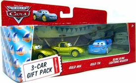 Disney / Pixar CARS Movie 1:55 Die Cast Cars 3-Car Gift Pack Bling Bling McQueen, Gold Mia & Gold Tia