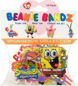 Ty Beanie Bandz Shaped Rubber Band Bracelets 12-Pack Spongebob Collection