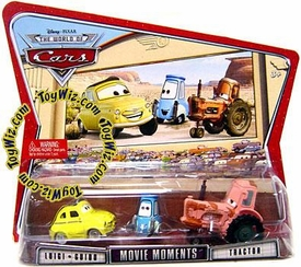 Disney / Pixar CARS Movie Moments 1:55 Die Cast Figure 3-Pack Series 3 World of Cars Luigi, Guido & Tractor