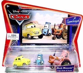 Disney / Pixar CARS Movie Moments 1:55 Die Cast Figure 3-Pack Series 2 Supercharged Luigi, Guido & Tractor