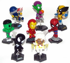 Marvel GRAB ZAGS Mini Figure 8-Piece Set [Spider-Man Classic, Spider-Man Black Suit, Iron Man, Cyclops, Storm, Hulk, Green Goblin & Wolverine]