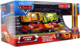 Disney / Pixar CARS Movie Exclusive 1:55 Die Cast Piston Cup Nights Speedway 4-Pack Octane Gain, Lightning McQueen, Leak Less & Shifty Drug